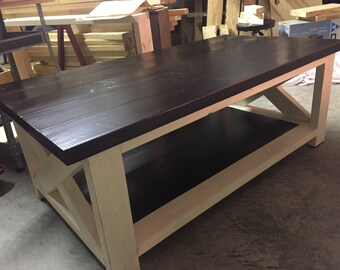 Rustic X Coffee Table Stained and Distressed
