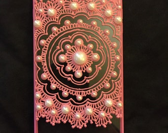 Pink Henna Phone Case with Pearls (iPhone)