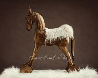 Newborn Photography Digital Backdrop Wooden Horse Prop - Coco in Brown