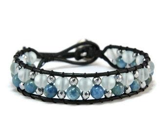 Boho Trueblue * Apatite & Crystal Mat Single Wrap Bracelet
