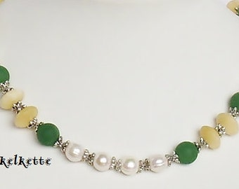 Necklace chain Green Pearl Necklace gemstone chain necklace gemstone jewelry Freshwater Pearl White fresh designs green yellow