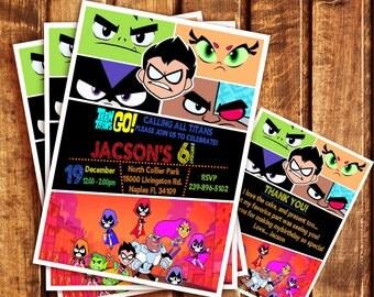 Teen Titans Go Birthday Party Invitation, Teen Titans Go Invitation, Teen Titans Go Printable, Teen Titans Go Thank You Card| MTE_4