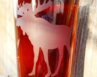 Set of 2 Moose Silhouette Etched Pint Glasses