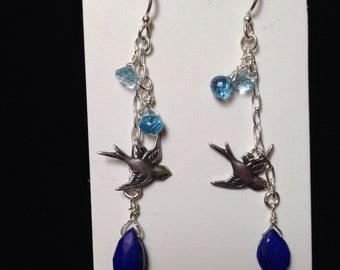 Lapis, birds, blue crystal