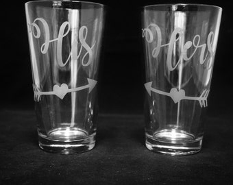 His and Hers Drinking Glass Set
