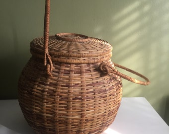 Lidded Basket, Woven Two Handle Lidded Basket, Vintage Lidded Basket