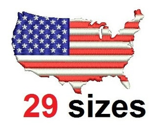 American flag United States USA EMBROIDERY Design Map Embroidery Design Fill Design Machine Embroidery Instant Download ER723F