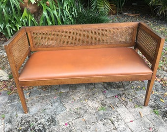 Vintage Linear Wood and Cane Bench