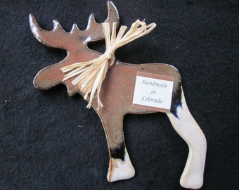 Ornament, Christmas, Moose, Pottery, Ceramic, Handmade