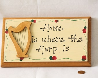 Picture 'Home is Where the Harp is' Wooden Sign