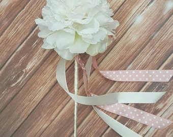 Flower Girl Wand, Peony Wand, White Wand, Flower Girl Flowers, Peonies, Flower Girl Accessories, Flower Wand, Butterfly Wand, Fairy Wand