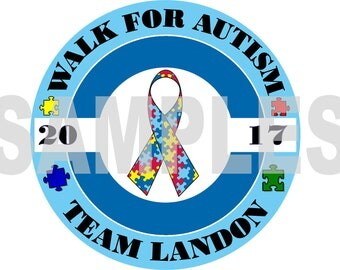 Autism Awareness Walk for Autism Personalized Iron on Transfer