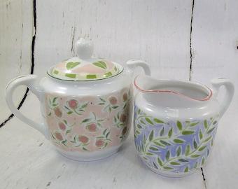 Andrea by Sadek / Brenda Walton / Sugar & Creamer / Flora Bella / Rosebuds  Leaves / Fine Porcelain / Birthday Gift / Mother's Day