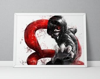 Tokyo Ghoul print, Tokyo Ghoul poster, Ken Kaneki print, Ken Kaneki poster, Anime poster, Anime print Watercolor N.001