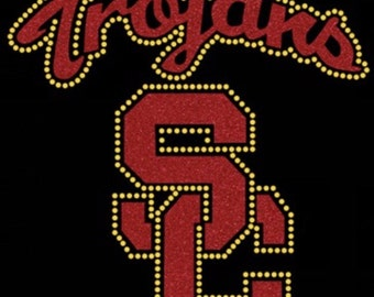 BLOWOUT SALE - USC Trojans Glitter & Rhinestone Iron-On Transfer
