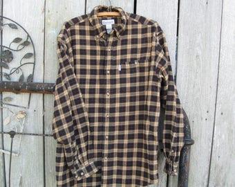 ship free Carhartt  Plaid Long Sleeve, flannel Button Down Collar Shirt