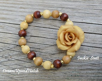 Wood Beaded Bracelet, with one handmade Polymer Clay Rose, Free Shipping