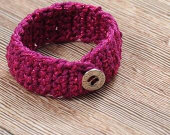 knitted jewelry, Crocheted Bracelet, Threaded Bracelet, Crochet bracelet, Gypsy bracelets, Organic jewelry, Handmade knitted, Shimmer cotton