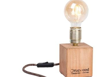 "Edison Table lamp, night lamp, ""Cube One Mini"", Industrial Lamp, wooden lamp, handmade, Loft, natural Light, Bar lighting,"