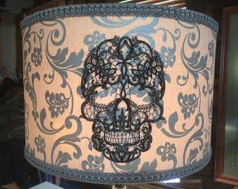 Skull lampshade etsy skull damask lamp shade aloadofball Gallery