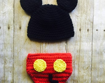 Crochet Mickey Mouse, Crochet Baby Set, Mickey Mouse Baby Set, Mickey Mouse, Birthday Costume, Photo Prop, Christmas Gift, Made to Order