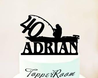 Fisherman cake topper,Birthday Fisherman cake topper,topper with Fisherman silhouett and fish,40 cake topper,40 Birthday topper (1100)