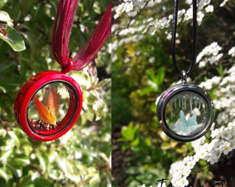 Elemental glass window locket - Fire and Ice variety