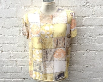 Lemon blouse, vintage patchwork style top, summer fashion