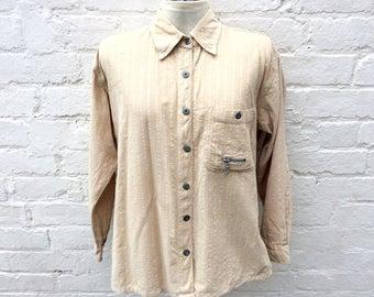 Cord shirt, beige corduroy blouse, 90's fashion