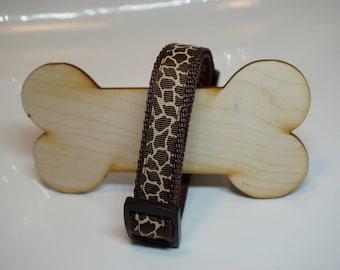 Dog collar collar giraffe Safari of Brown adjustable 26 - 39 cm