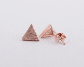 Alison plated earrings gold pink triangle shape chic