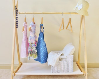 Kids Clothes Rack with Canvas Storage Shelf | Clothing Rack | Mini Fold Up A-Frame Rack | Rack | Dress Up Storage Rack