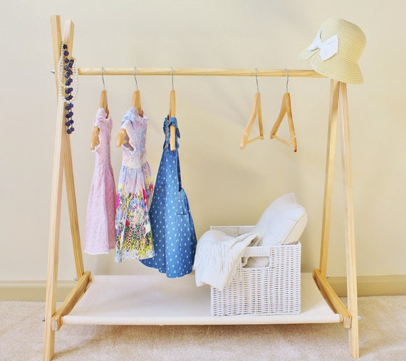 Diy Child Clothes Rack: Kids Clothes Rack With Canvas Storage Shelf Clothing Rack