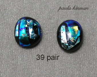 Pair Dichroic Glass Cabochons #39