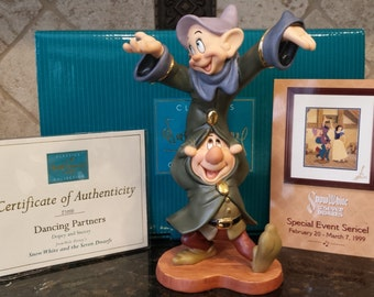 Walt Disney Snow White DANCING PARTNERS ~ From the Disney Movie Snow White and the Seven Dwarfs ~ Mint with COA
