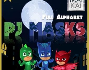 PJ Masks digital alphabet, pj masks clipart, pj masks letters, pj masks invitation, pj masks birthday, digital font. instant download