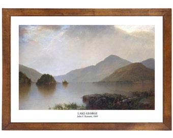 Lake George by John Kensett, 1869; 24x36 inch print reproduced from a vintage painting or lithograph