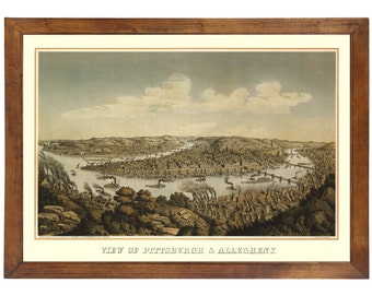 Pittsburgh & Allegheny PA, 1874; 24x36 inch print reproduced from a vintage painting or lithograph