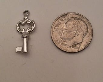 Vintage Sterling Silver Key Charm for Bracelet
