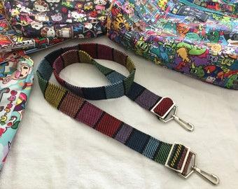 Dark Rainbow Handbag Strap Handwoven to Match JuJuBe Bags
