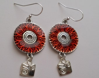 Red Enamel Disc with Silver Plate Square Drop Earrings  (E14-178)