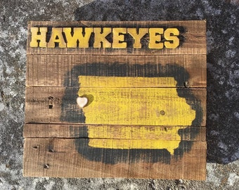 Rustic, Distressed Iowa Hawkeyes Sign