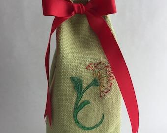 Block printed linen wine bag