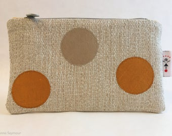 High-end designer linen zipper pouch, makeup bag, bridesmaid gift, clutch, mother's day