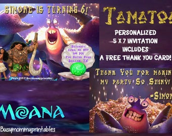 Tamatoa Invitation- Moana Tamatoa Invitation-Personalized with FREE Thank You Card-Tamatoa Crab-Moana Invitation- Moana Party-Moana Birthday