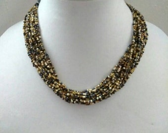 Vintage Blue Beige Beaded  Multi-Strand Necklace, Accessories, Fashion Jewelry, Boutique