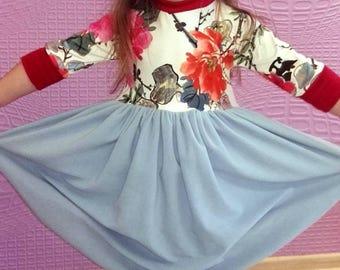 Flower Dress/ Girls Dress/ Girls Party Dress/ Kids Clothes/ spring dress/ spring clothes/ handmade dress/ Fleece dress/ knitwear dress