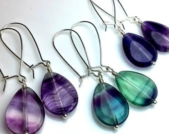 Rainbow Fluorite Earrings, Sterling Silver Dangle Earrings, Boho Jewelry, Summer party, Bridesmaid Jewelry, Teardrop Earrings, Bridal Party