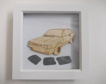 Scirocco Picture -  Etched wood Scirocco with Sea Slate in white wood frame