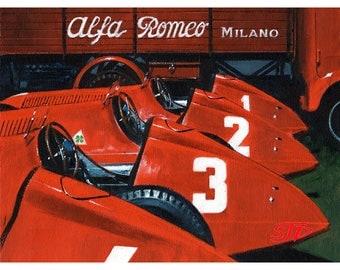 ALFA ROMEO print, Vintage Motorsport print, Birthday gift for Alfa Romeo fan, Italian car print, Fangio print, Limited Edition F1 print,